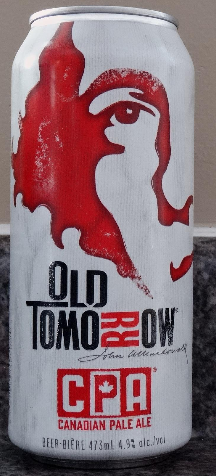The front of Canadian Pale Ale beer can, by Old Tomorrow Beer.  This is the 2017 edition of the can.