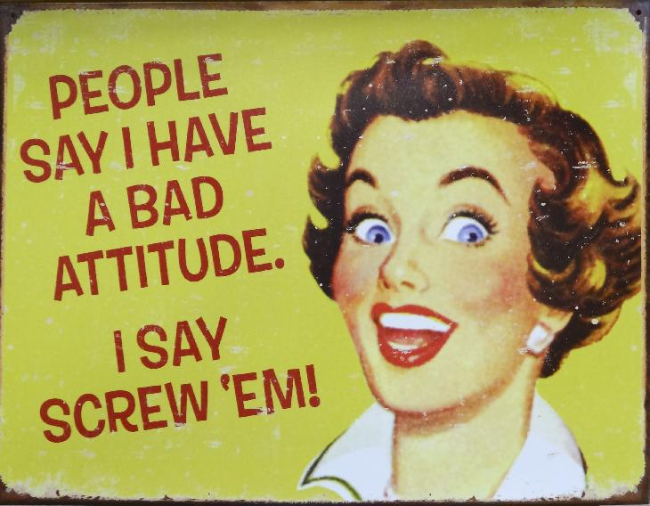Photo of metal sign in a store.  Full sign says this:  People say I have a bad attitude.  I say screw'em.