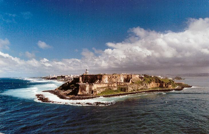 View of El Morro. Leaving the port of San Juan on the Explorer of the Seas cruise ship.  Scanned from a negative.