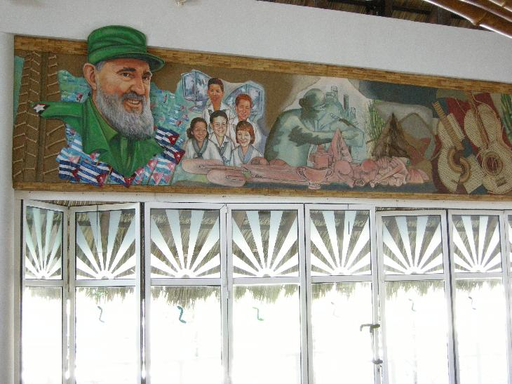 A wall mural portraying Fidel Castro in the lobby at the Sandals Royal Hicacos in Varadero Cubs.