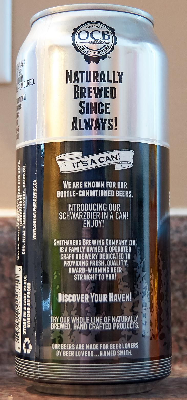 The back of a Smithavens Schwarzbier beer can.  Brewed by Smithavens Brewing Company in Peterborough Ontario.