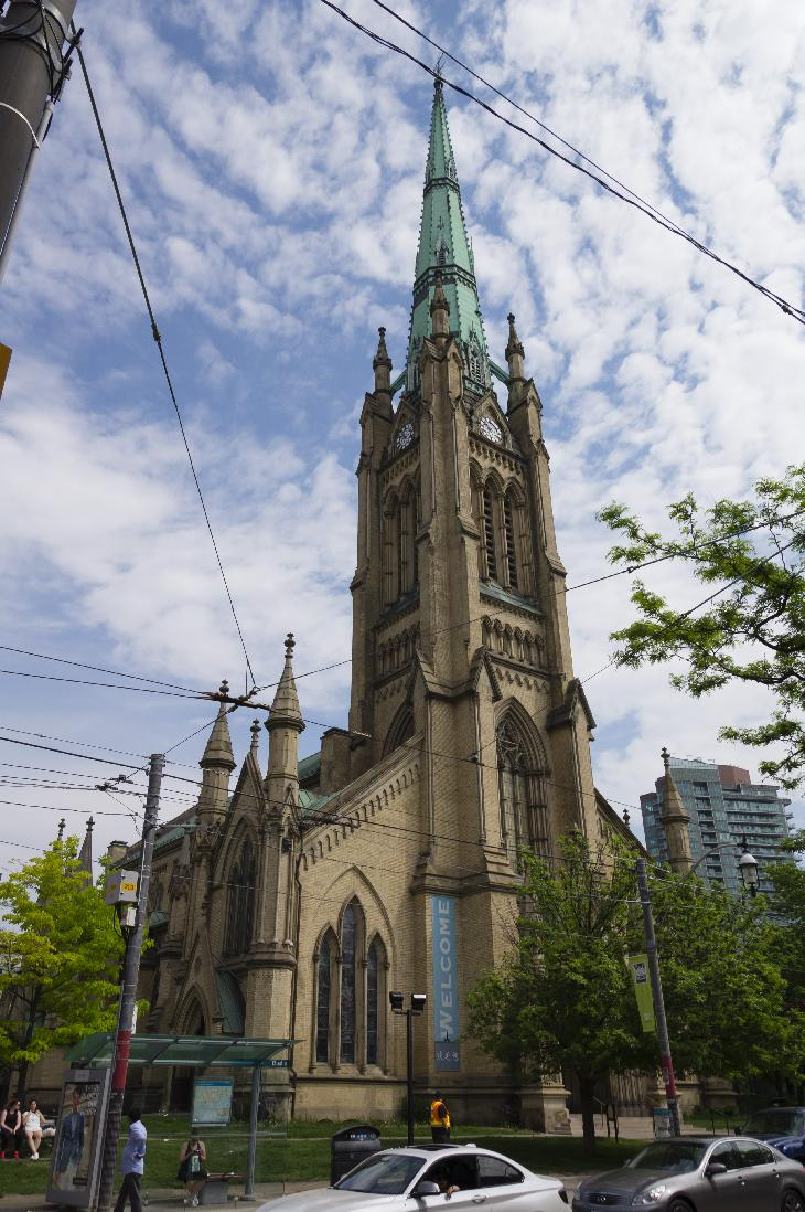 Photo of the The Cathedral Church of St. James in Toronto.  Looking Northwest along King street.  Is an Anglican denomination church.
