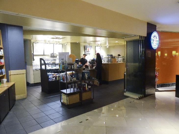 Starbucks located inside the lobby at the Chicago Marriott Magnificent Mile on North Michigan Avenue.