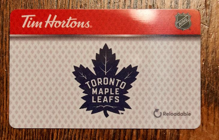 A 2018 Tim Horton's gift card.  With the Toronto Maple Leafs' logo displayed in the center.  The NHL logo appears in the top right corner.
