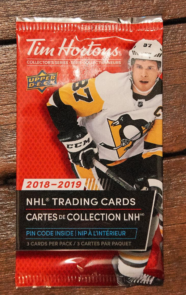 The card wrapper for Tim Hortons Collector's Series Hockey Cards.  Sydney Crosby is pictured on the wrapper. The cards were manufactured by Upper Deck.  Released during the fall of 2018.  99 cents a package when purchased with a drink.