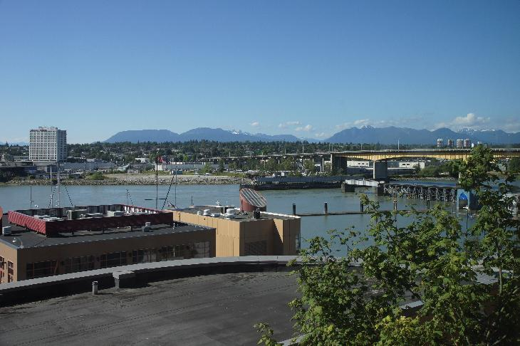 View from King Suite Hotel room in River Rock Casino Resort in Vancouver.  Grouse Mountain can be seen in the distance.