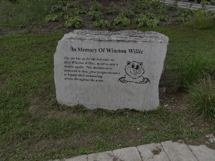 The Wiarton Willie monument at the Wiarton Willie Statue site be with 'In Memory of...'