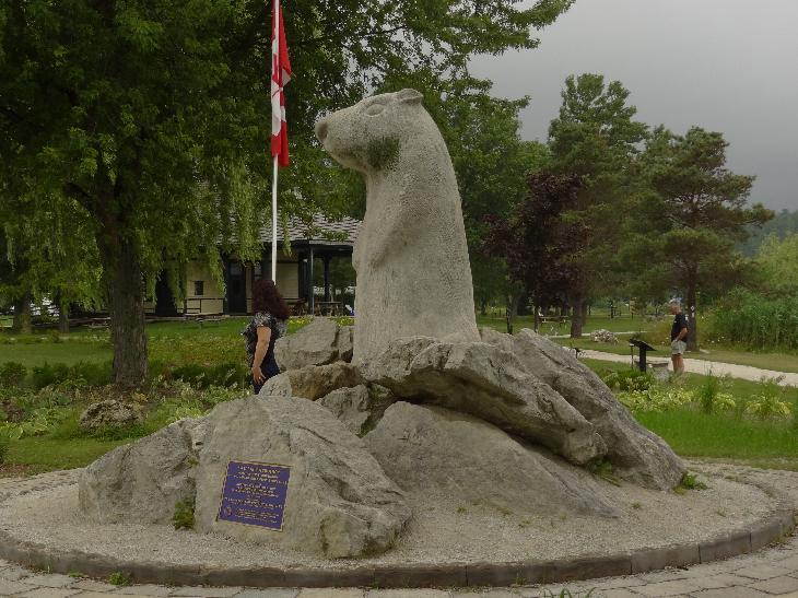 A side view of the Wiarton Willie Statue in Wiarton Ontario.