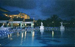 Main pool at Sandals Grande St. Lucian, taken during the evening.