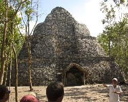 Crossroads Temple at Mayan Coba Ruins in Mexico