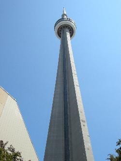 CN Tower looking from the ground up.