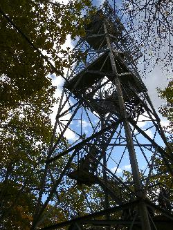 View of Dorset Lookout Tower from directly below it.  The original tower was built in 1922, was 25 metres high (82 feet) and used as a fire lookout tower. The current tower was built in 1967, is 30 metres high (100).