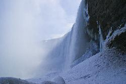Niagara Falls in Winter from Tunnel Underneath the Falls