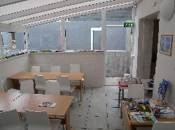 Photo of breakfast seating area in Aurora Guesthouse in Reykjavik Iceland.