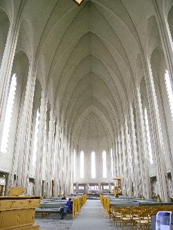 Photo of the interior of Hallgrimskirkja (Hallgrims Church) in Reykjavik Iceland.