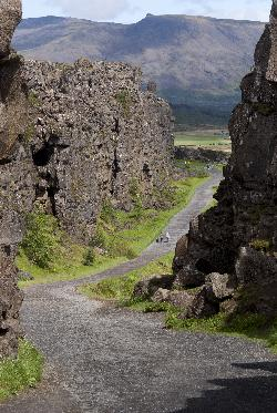 Photo along the Almannagja Rift at Thingvellir National Park in Iceland. (Pingvellir)(Þingvellir)