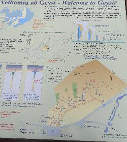 Photo of information of the Great Geysir in Iceland. Shows information of other geysers including Strokkur, along with map of site.