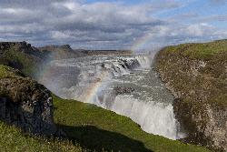 Rainbow in Gullfoss waterfall in Iceland