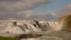 Gullfoss Waterfalls Iceland - closeup view of upper falls