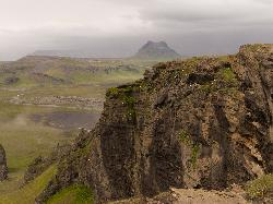 Photo of landsacape and volcano near Dyrhólaey in Iceland. Just around the corner is Vik. Photo taken from Dyrhólaey.