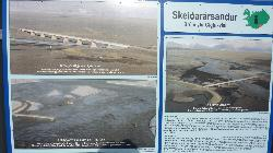 Photo of the sign at Skeidarársandur showing details of the sand flats. In 1996 the bridge was washed out.