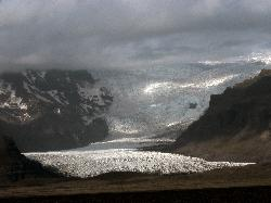 Photo of the Svinafellsjökull glacier from the ring road in Iceland.  Zoomed in to 75mm.