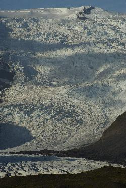 Zoomed into snow of Svinafellsjökull Glacier Icleand.