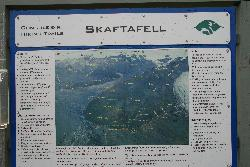 Sign showing the map of hiking trails at Skaftafell National Park.  Sites include Svartifoss, Skaftafellsjokul, Hundafoss and Morsurjokull.