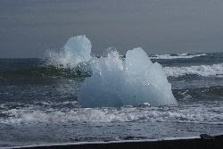 Photo of drifted Ice Bergs at a black sand beach near the Jökulsárlón (Jokulsarlon) glacier lagoon.