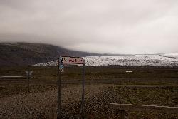 Road sign for Svínafellsjökull glacier near Skaftafell in Iceland.  Taken from the ring road. (Svinafellsjokull)