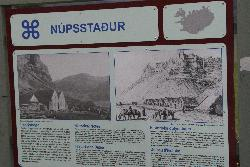 Nupsstadur farm - a history sign posted at the farm