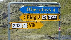 Road sign for Eldgjá and Ófærufoss Waterfall in Iceland.  The sign is located on F208.  Eldgjá is a volcano valley in which is Ófærufoss Waterfall.