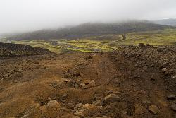 A photo showing the rough road along F208 in the region of Landmannalaugar in Iceland.