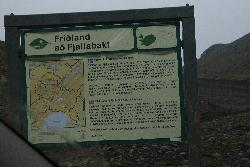 Photo of a sign for Fjallabak Nature Reserve along F208 Landmannalaugar.  Zooming in, it shows a good map Landmannalaugar area.