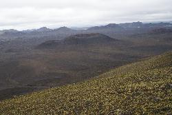View of Hnausapollur from the top of Ljótipollur in Iceland.