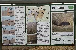 Sign and info for the Kerid Volcanic Crater in Iceland