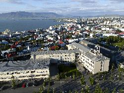 View of Reykjavik as taken from the Hallgrímskirkja church.  Viewing the north east quadrant of the city.