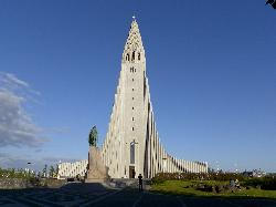 Hallgrimskirkja (Hallgrims Church) in Reykjavik.  Tallest building in Iceland.  Designed to resemble the basalt lava flows of Iceland's landscape.