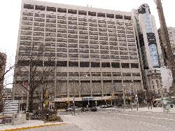 View of east side of Mount Sinai Hospital from Gerrard Street in Toronto.  Mount Sinai is located on University Avenue.