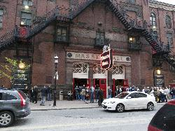 View of the front of Massey Hall on Victoria Street in Toronto.