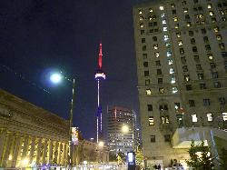 Night View CN Tower and Union Station Toronto