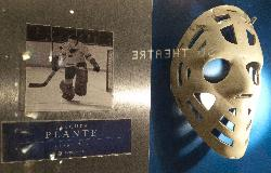 Photo of the Jacques Plante mask in Hockey Hall of Fame Mask. 1969-70 Mask.  Wore as member of the St. Lois Blues.