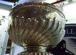 Close up view of the cup of the Stanley Cup, at the hockey hall of fame, in Mat of 2011.