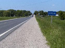 Community of Stroud welcome sign, along highway 11.  Stroud is a community in Innisfil Ontario.