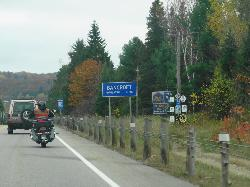 Bancroft population sign travelling southbound along Highway 62.  Bancroft is located in Hastings County Ontario.