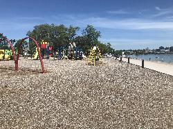 Barrie Centennial Beach Park Playground in 2020 - view to the north