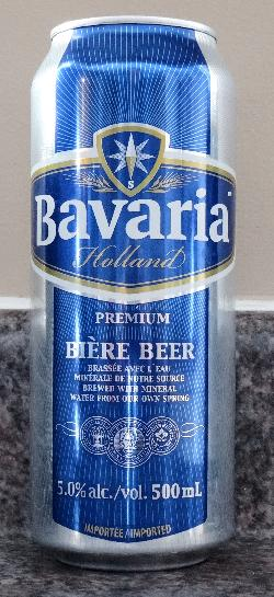 Photo of the front of a Premium Pilsner from Bavaria brand beer.  Imported into Canada from the Netherlands. Bavaria is a brand from Bavaria N.V., formerly Swinkels Family.