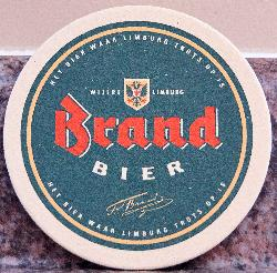 A photo of a beer coaster from Brand Bier of Limburg, Holland.  This coaster was used in 1996 near Arnhem.