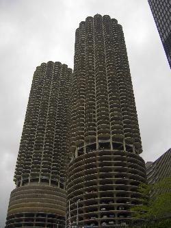 Photo of the Marina City towers in Chicago.  Taken from the Chicago River.