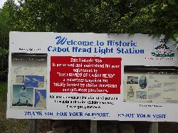 Photo of the welcom sign at Cabot Hear Light Station, situated on Lake Huron near Tobermory Ontario.